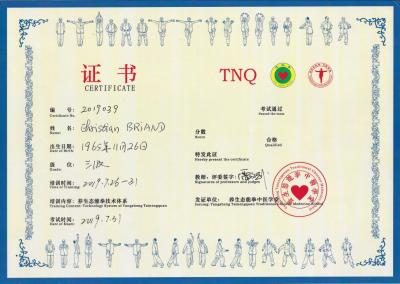 Certificat chinois Wushu Sante