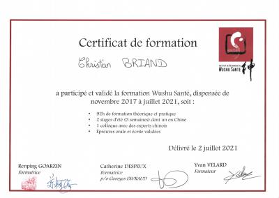 Certificat de formation Wushu Sante