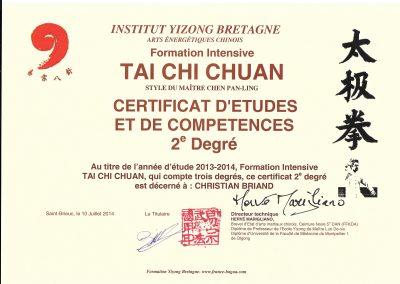 Diplôme d'études de 2 ème année en Tai Chi Chuan