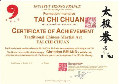 Diplôme d'études de 3 ème année en Tai Chi Chuan